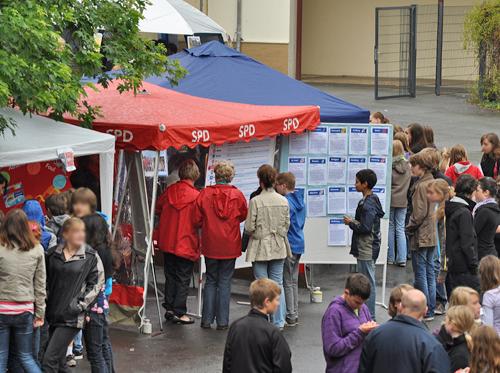 Der Stand der SPD-Ratsfraktion beim Bochumer Umwelttag im Schulzentrum Südwest in Linden/Dahlhausen.