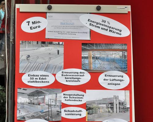 Ein Themenschwerpunkt beim Umwelttag: Hier geht es um die Sanierung des Querenburger Schwimmbades mit Mitteln aus dem Konjunkturprogramm II und die dadurch möglichen Energieeinsparungen.