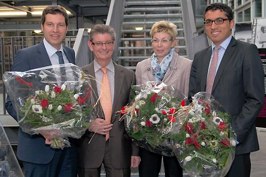 Norbert Römer und die drei Kandidaten für den Landtag der SPD-Bochum