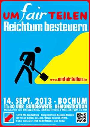 """""""UMfairTEILEN – Reichtum besteuern"""" - Aufruf zur Großdemonstration / Link zur Homepage  www.pott-umfairteilen.de"""