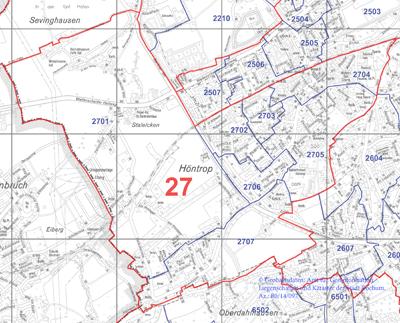 Wahlbezirk 27 - Höntrop-Süd / Sevinghausen - Zum Vergrößern bitte anklicken (pdf)