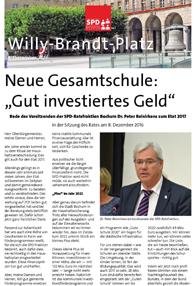 """Neue Gesamtschule: """"Gut investiertes Geld"""" (Rede des Vorsitzenden der SPD-Ratsfraktion Bochum Dr. Peter Reinirkens zum Etat 2017 in der Sitzung des Rates am 8. Dezember 2016)"""