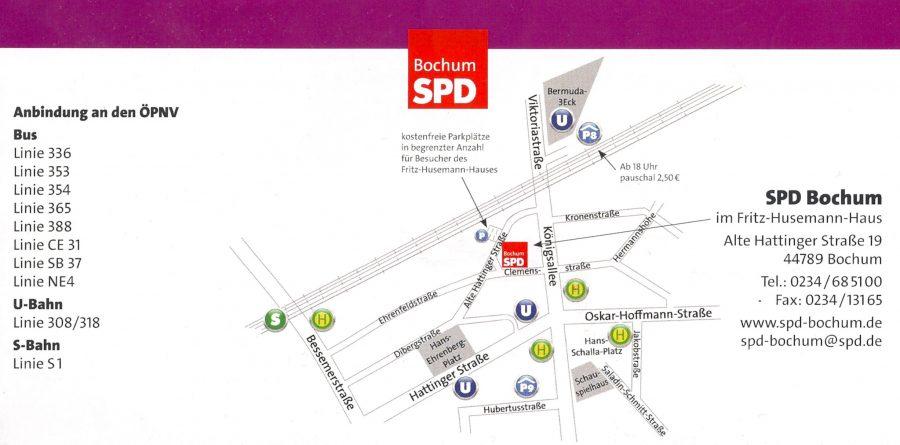 Anfahrskizze zur SPD Bochum