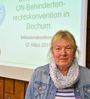Bürgermeisterin Gabriela Schäfer (SPD) bei der 1. Inklusionskonferenz in Bochum am Donnerstag (12. März 2015) im Bochumer Rathaus.