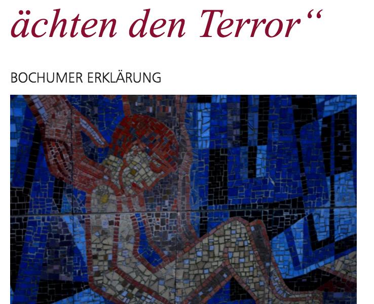 """Bochumer Erklärung: """"Wir achten uns, wir ächten den Terror"""" (Screenshot: christuskirche-bochum.de)"""