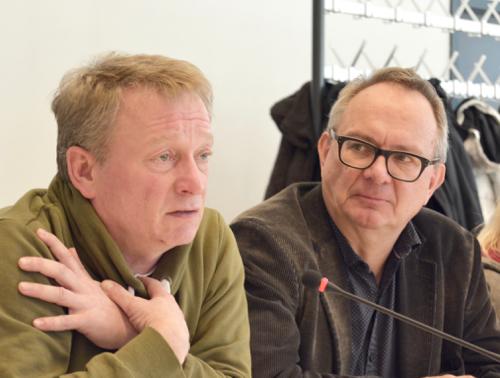 Stephan Kosel (li.) und Hans Hanke bei der Klausur der SPD-Ratsfraktion. Stephan Kosel ist Mitglied im Ausschuss für Kinder, Jugend und Familie, Hans Hanke kulturpolitischer Sprecher der SPD-Ratsfraktion.