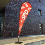 SPD-Banner vor dem Jahrhunderthaus in Bochum