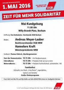 1. Mai 2016: Zeit für mehr Solidarität (Aufruf zur Maikundgebung des DGB in Bochum)