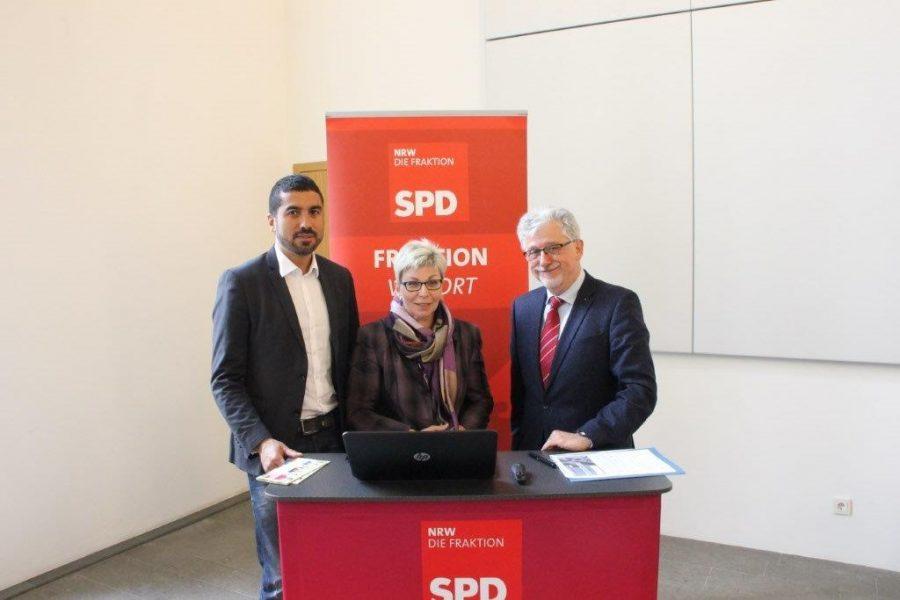 Fraktion vor Ort: Serdar Yüksel, Carina Gödecke und Hans-Willi Körfges