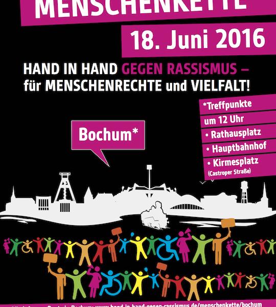 Plakat: Menschenkette: Hand in Hand gegen Rassismus für Menschenrechte und Vielfalt (am 18. Juni 2016 in Bochum)