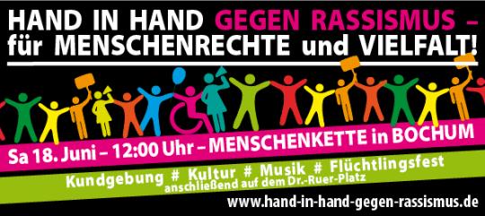 Menschenkette: Hand in Hand gegen Rassismus für Menschenrechte und Vielfalt (am 18. Juni 2016 um 12:00 Uhr in Bochum)