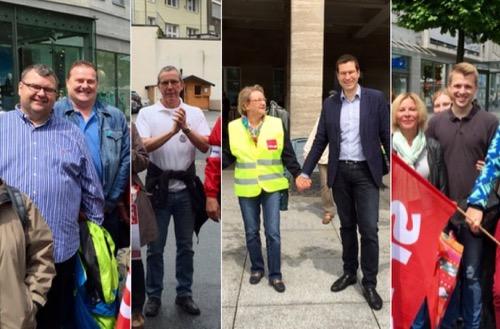 """Menschenkette in Bochum: An einer Menschenkette unter dem Leitgedanken """"Hand in Hand gegen Rassismus für Menschenrechte und Vielfalt  in Bochum am Samstag (18. Juni 2016) nahmen auch Mitglieder der SPD-Ratsfraktion teil, darunter (v.l.) Jörg Czwikla, Dirk Marten und Ernst Steinbach sowie Jonathan Ströttchen."""