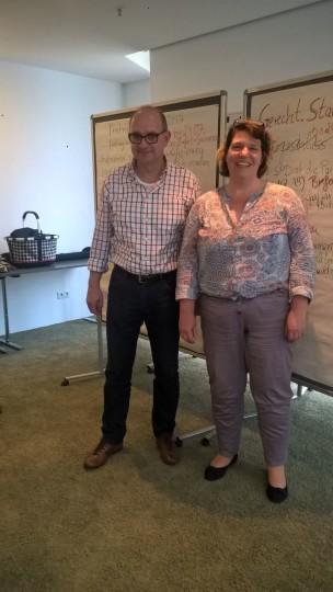 NRWSPD-Generalsekretär André Stinka und AGS Bochum-Vorsitzende Anke Chnielewski
