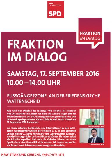 Fraktion im Dialog (Fußgängerzone an der Friedenskirche, Wattenscheid), 17. September 2016