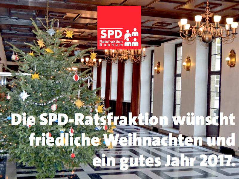 SPD-Ratsfraktion Bochum: Weihnachts- und Neujahrsgrüße der SPD-Ratsfraktion 2016/17. Das Hintergrundbild zeigt den Weihnachtsbaum auf dem Repräsentationsflur im Bochumer Rathaus.