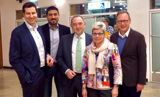 Thomas Eiskirch, Serdar Yüksel, Norbert Walter-Borjans, Carina Gödecke und Karsten Rudolph beim Parteitag der SPD Bochum