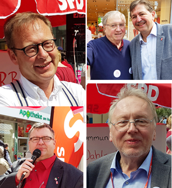 SPD-Ratsfraktion Bochum: Der Bochumer SPD-Vorsitzende Dr. Karsten Rudolph (oben links) zieht in den NRW-Landtag ein. Bei der Wahl am 14. Mai 2017 holten Rudolph ebenso wie Carina Gödecke und Serdar Yüksel in ihren Wahlkreisen die meisten Erststimmen.