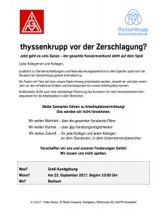 Groß-Kundgebung: thyssenkrupp vor der Zerschlagung? (22.09.2017 - Beginn: 10:00 Uhr)