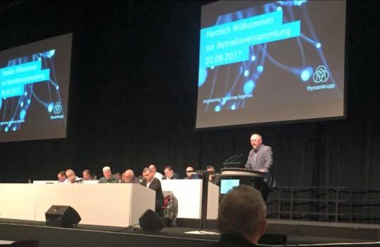 MdB Axel Schäfer bei der Betriebsversammlung von ThyssenKrupp am 20.09.2017 im RuhrCongress Bochum