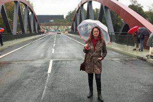 SPD-Ratsfraktion Bochum: Das Altenbochumer Ratsmitglied Simone Gottschlich bei der offiziellen Freigabe dre Buselohbrücke am 6. Oktober 2017.