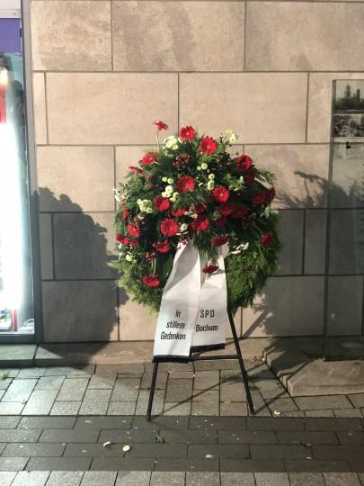 Gedenken Reichspogromnacht am 9.11.2017 - Kranz der SPD Bochum