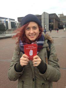 Katja Christoph: Tritt ein, stimm mit Nein! (Aktion #NoGroKo der Jusos Bochum)