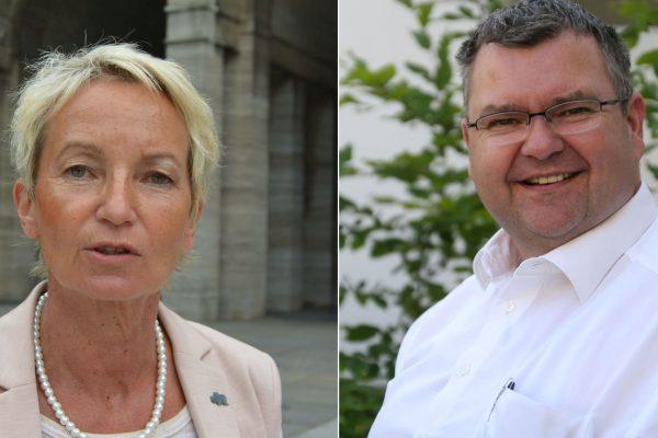 Martina Schmück-Glock und Jörg Czwikla stellen die Ideen der SPD-Ratsfraktion zur Umgestaltung des Husemannplatzes vor.