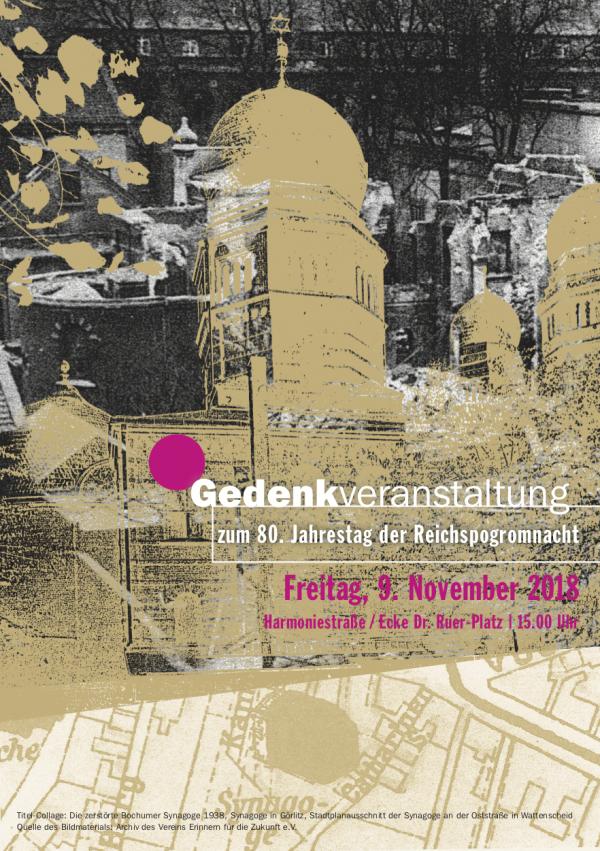 80. Jahrestag der Reichspogromnacht – das Geschehen am 09. November 1938 in Bochum