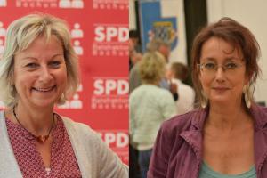 Martina Schnell und Simone Gottschlich (v.l.) setzen sich für einen schnellen Baubeschluss der Lohring-Brücke ein.