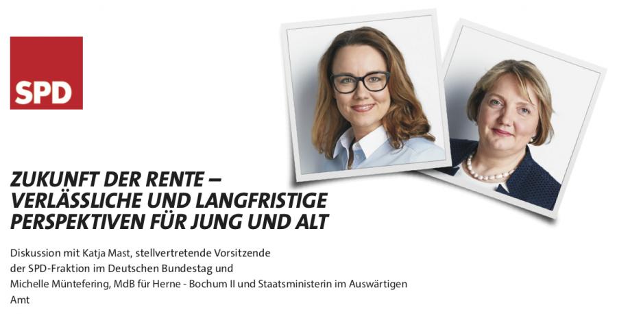Michelle Müntefering und Katja Mast: Zukunft der Rente - verlässliche und langfristige Perspektiven für Jung und Alt