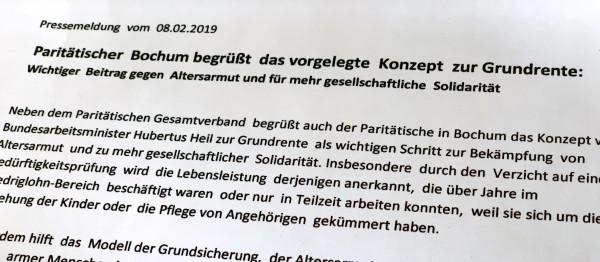 Der Paritätische Bochum: Auszug aus der Pressemeldung vom 08.02.2019 zum vorgelegten Konzept der Grundrente