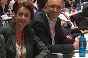 Simone Gottschlich und Marc Gräf als Delegierte der SPD Bochum auf dem SPD-Bundesparteitag 2018 in Wiesbaden