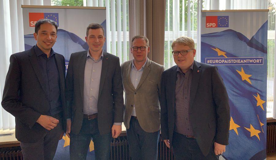 Bei der AfA Bochum: Oliver Basu Mallick, Stefan Gran, Karsten Rudolph und Kai Rauschenberg
