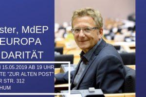 """Banner zur Veranstaltung """"Für ein Europa der Solidarität"""" mit Dietmar Köster am 15. Mai 2019"""