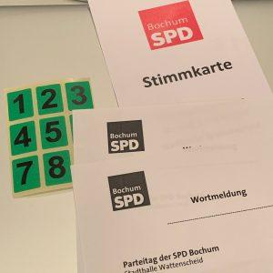 Unterbezirksparteitag der SPD Bochum 17. Juni 2019 #spdBOpt: Stimmkarte, Wortmeldung usw.