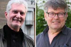 Herrmann Päuser und Hans Peter Herzog freuen sich, dass die alten Kunstrasendecken erneuert werden.