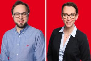 Dr. Bastian Hartmann und Deborah Steffens loben die Pläne zum Haus des Wissens.